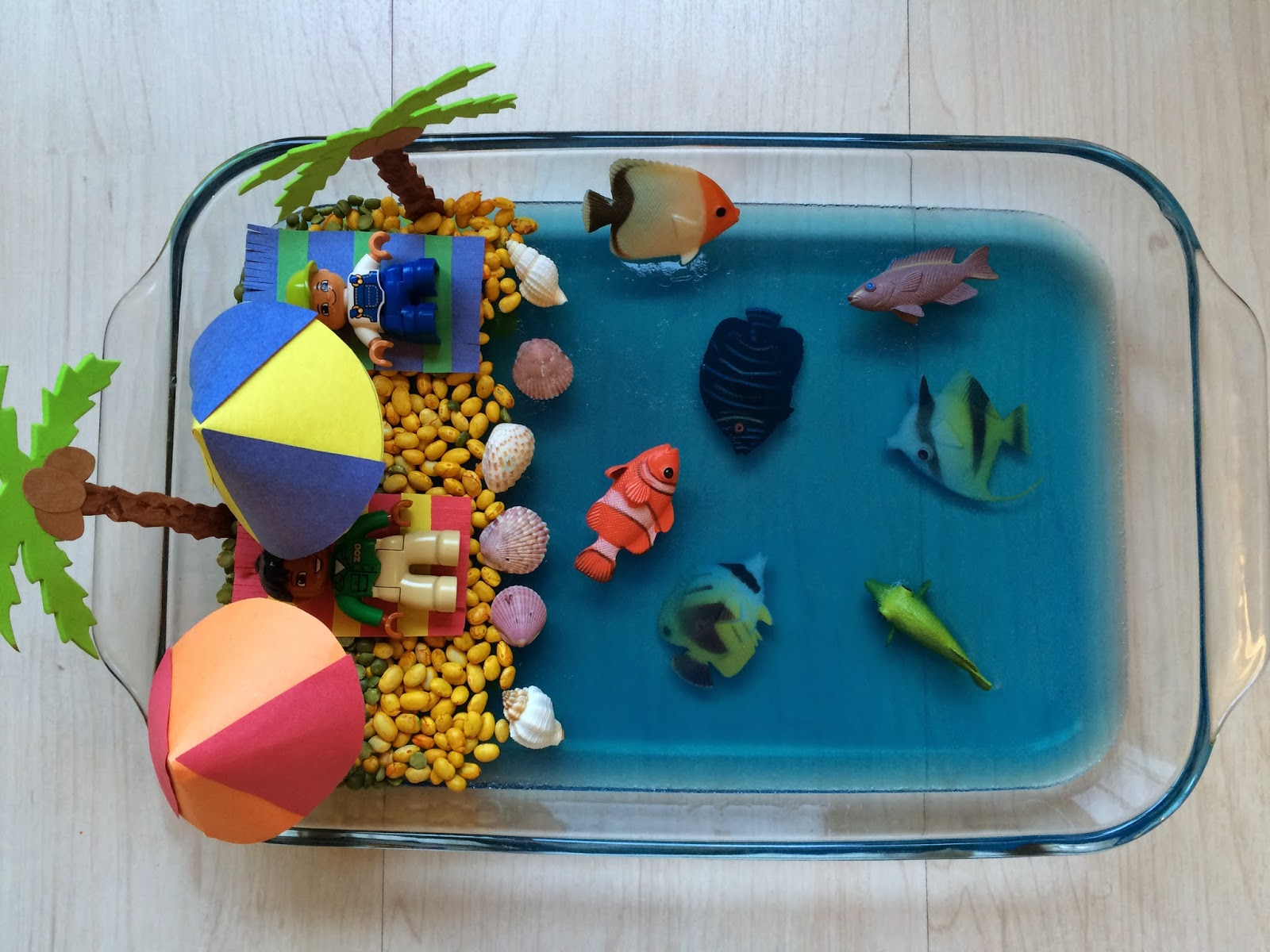 Beach Craft Ideas For Kids Part - 25: The Nest Morning I Made A Beach Out Of Yellow Colored Beans And Split Peas  And Added More Fish And Seashells. I Made Beach Towels And Umbrellas Out Of  ...