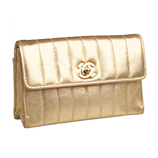 Vintage 1990's gold Chanel envelope bag with gold hardware.