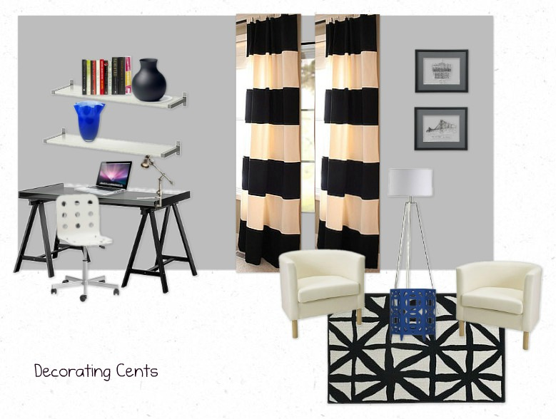 Decorating Cents: Striped Curtains In The Office