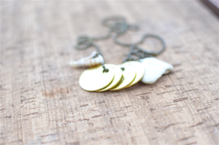 Hammered Metal Charm and Shell Necklace Win FREE Makers Kit from A Nest for All Seasons