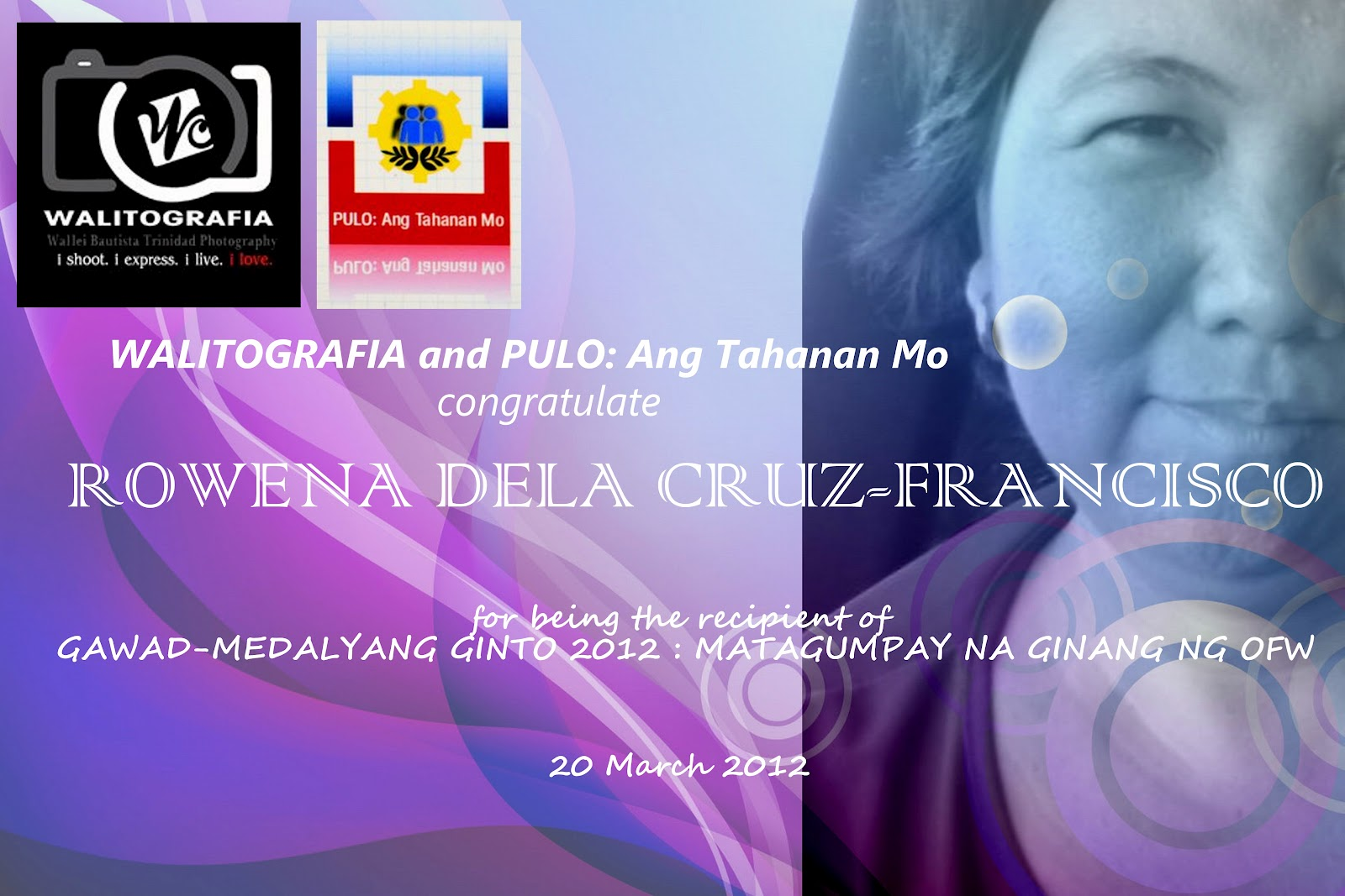 Congratulations to Mrs. Rowena Dela Cruz-Francisco of Pulo, San Rafael
