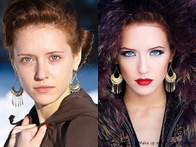 chica de ojos azules antes y después del maquillaje