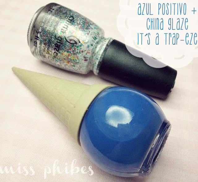 esmaltes Positivo + China Glaze It´s a Trap-eze