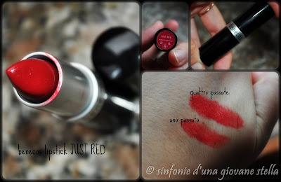 review & swatches benecos lipstick in just red