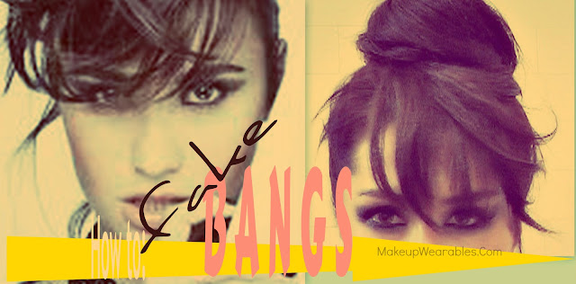 How to DEMI LOVATO hair bun with fake bangs tutorial for medium, long hair - wedding hairstyles updos