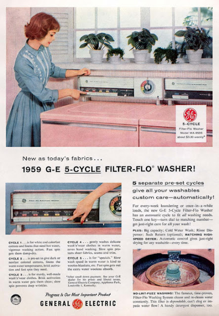 1959 G-E pink washer dryer retro vintage 50s just peachy,darling