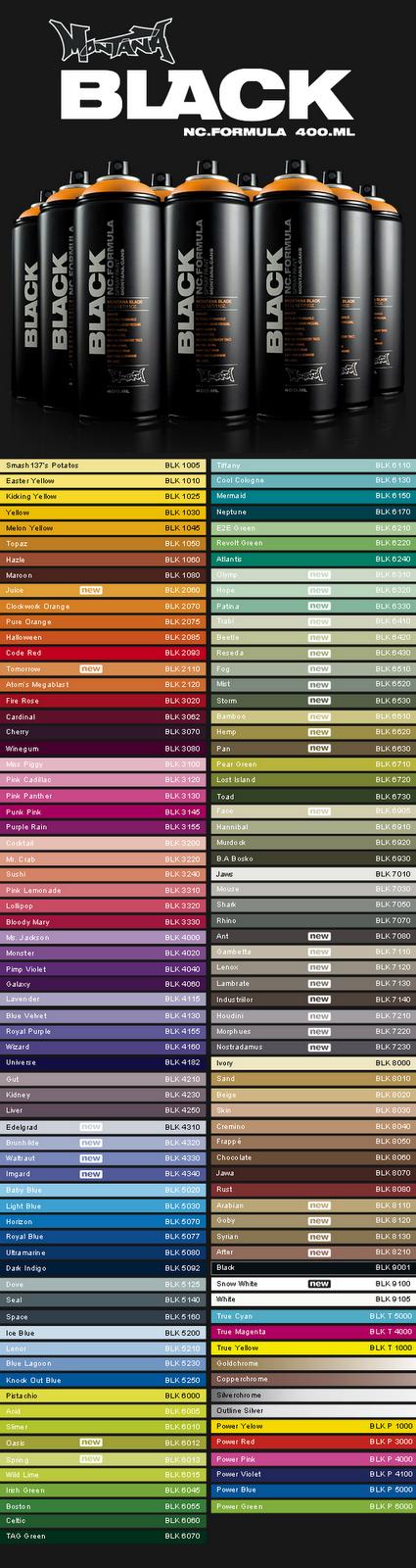 shop montana amplia tabela de cores do spray montana black nc. Black Bedroom Furniture Sets. Home Design Ideas