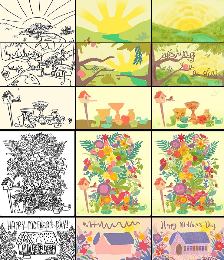Progress shots of a Mother's Day eCard animation by Jeca Martinez