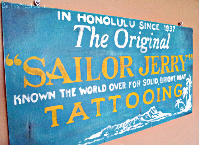 Vintage Hand-Painted Sailor Jerry Tattoo Sign on BinkysNest.com