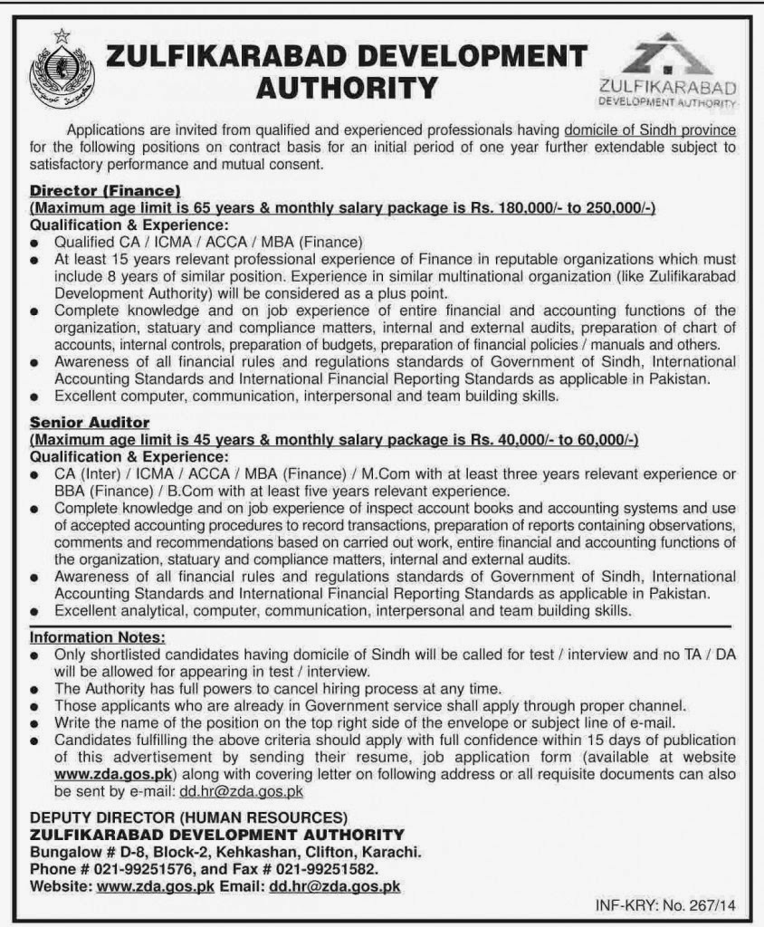 Vacancies in Zulfikarabad Development Authority, Karachi