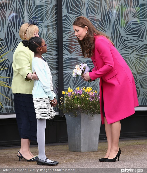 Catherine, Duchess of Cambridge leaves the Stephen Lawrence Centre