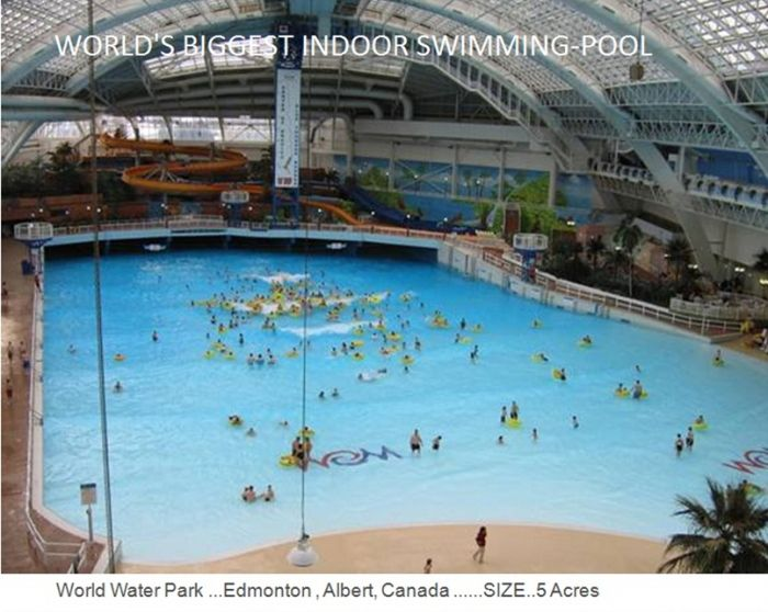 World Water Park in Edmonton-Albert-Canada size 5 acres that makes it the world's biggest indoor swimming pool, world records, biggest indoor swimming pool