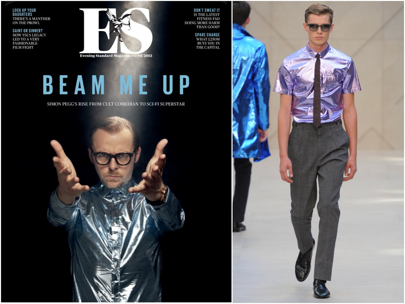 00O00 Menswear Blog : Simon Pegg in Burberry Prorsum and Lanvin - ES Magazine 3rd May 2013