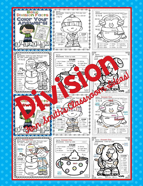 Fern Smith's Classroom Ideas Matching Winter Fun! Basic Division Facts - Color Your Answers Printables