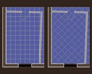 Una soluzione per il bagno stretto e lungo - Posa piastrelle in diagonale ...