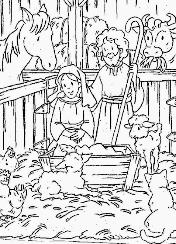Free Colouring Pages Christmas Nativity Coloring Scene Page