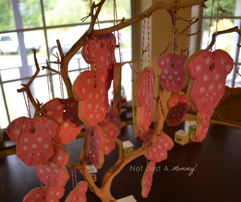 Sugar and spice autumn themed baby girl shower cookie favor tree