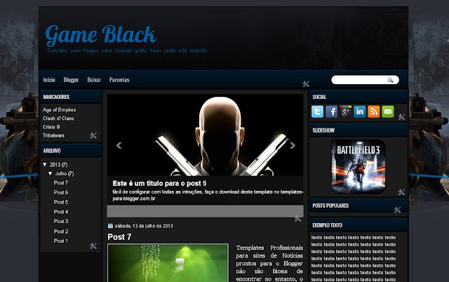 Layout Blogspot - Game Black