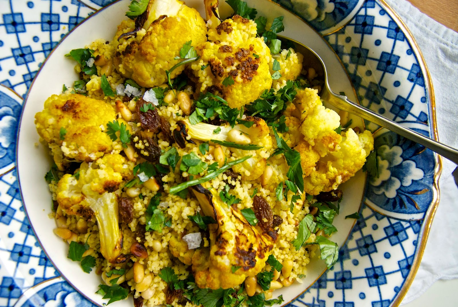 Roasted cauliflower and cous cous salad