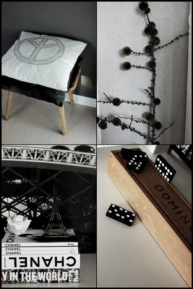 chanel böcker, kudde peace, domino, collage, inredningsdetaljer,