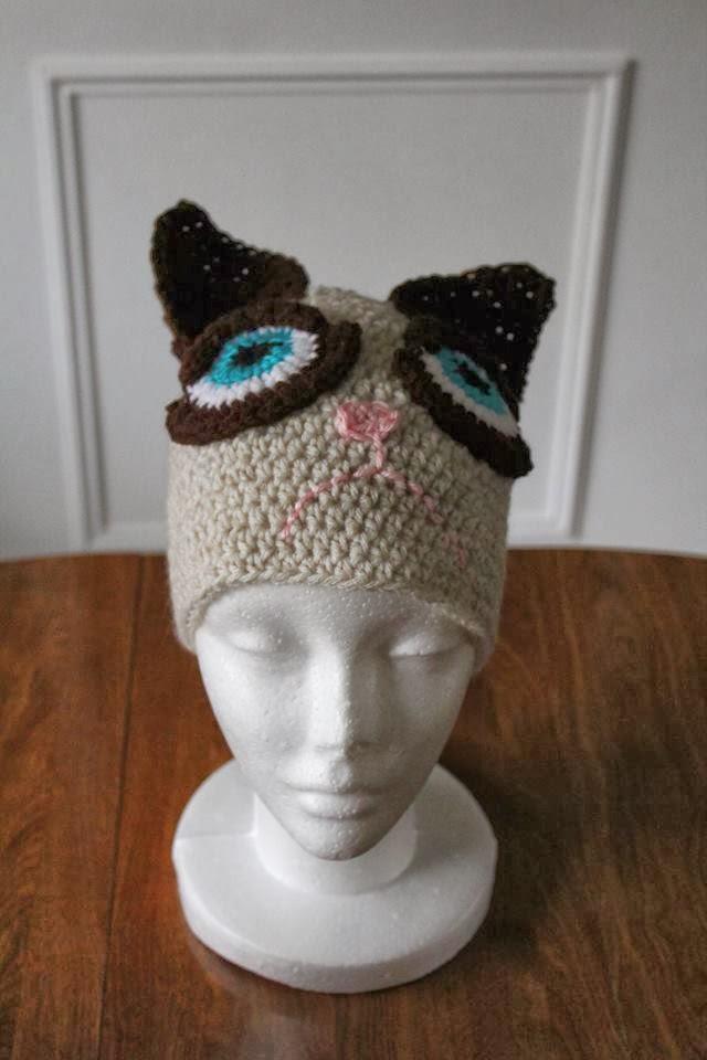 Grumpy Cat Crochet Hat Pattern Free : The Crafty Flutist: Grumpy Cat Beanie. Free Pattern