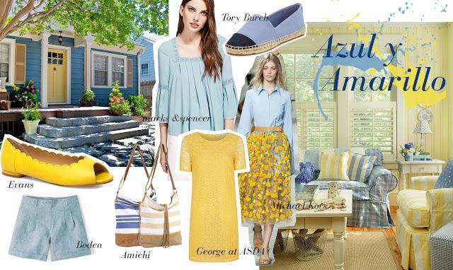 azul y amarillo look inspiración