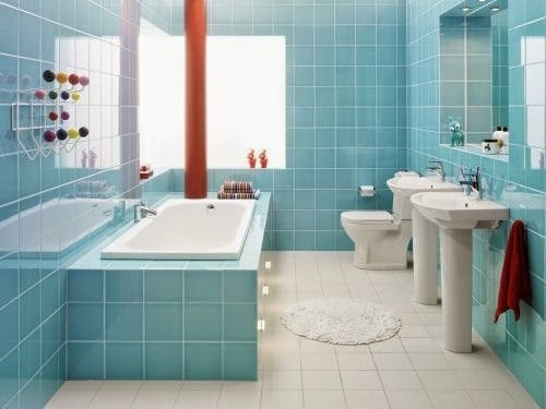 Baño Pintado De Verde:Justo debajo he puesto otra imagen con los azulejos en verde y las