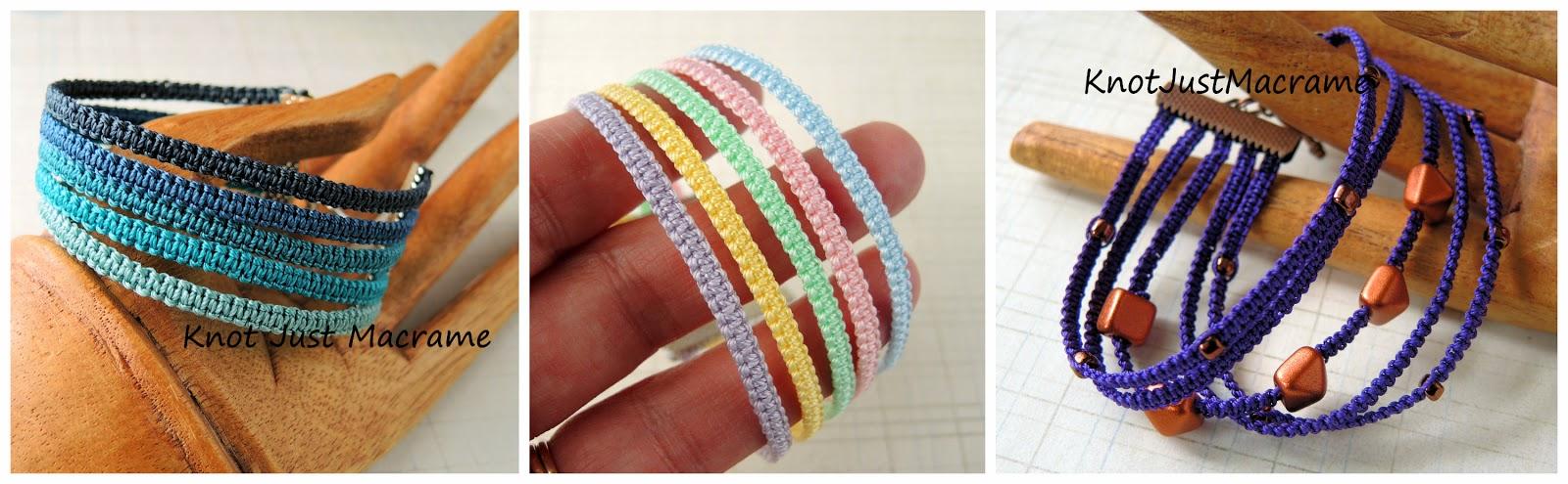 Micro macrame stack bracelet variations