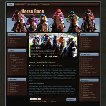 Horse Race Blogger Template. free sport blogger template