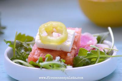 Ensalada de Sandia con Vinagreta de Limon y Tequila | Historias de mi Cocina