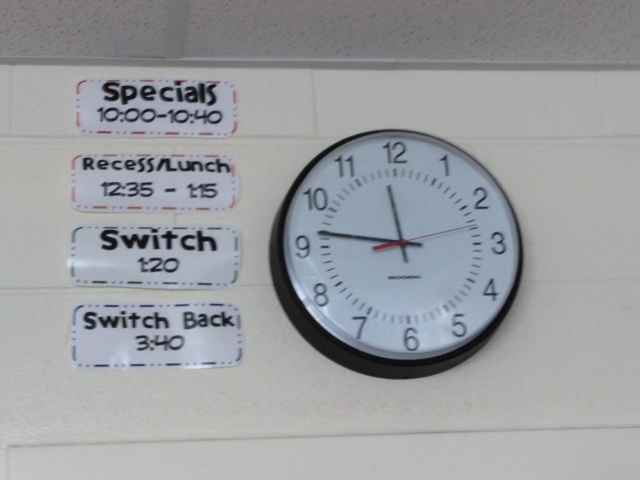 Post important times by the clock to eliminate students asking several times a day.