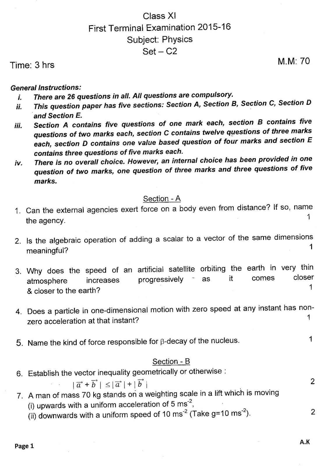 class 11 half yearly question papers physics