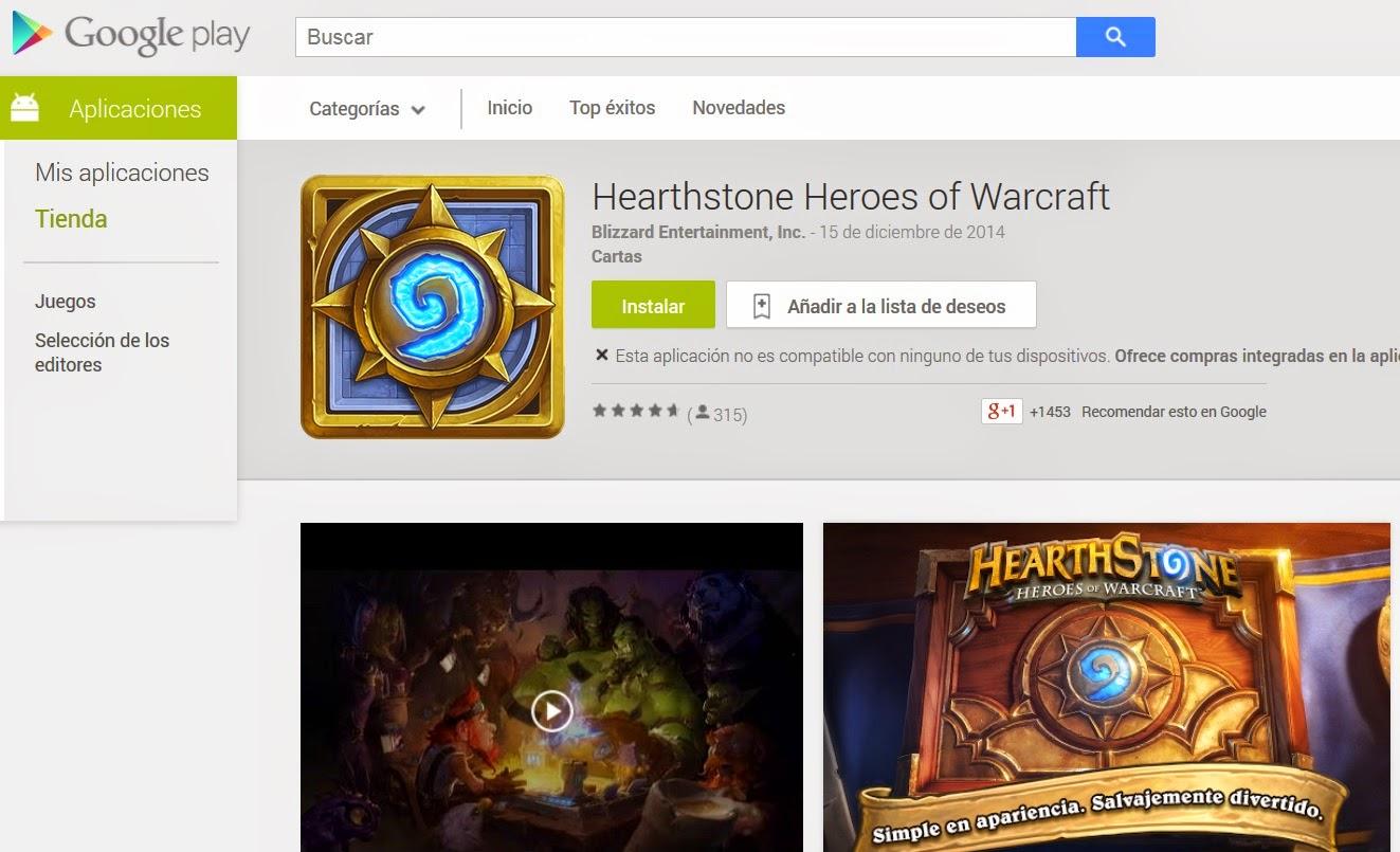 HEARTHSTONE Heroes of Warcraft Disponible en GOOGLE PLAY