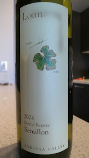Label for 2004 Loan Wines Unwooded Special Reserve Semillon from Barossa, Australia