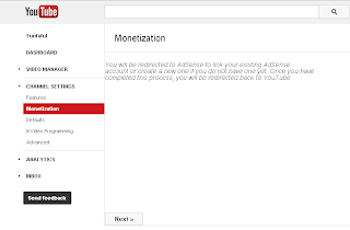 Click: Next ... time to Adsense account that you already have.