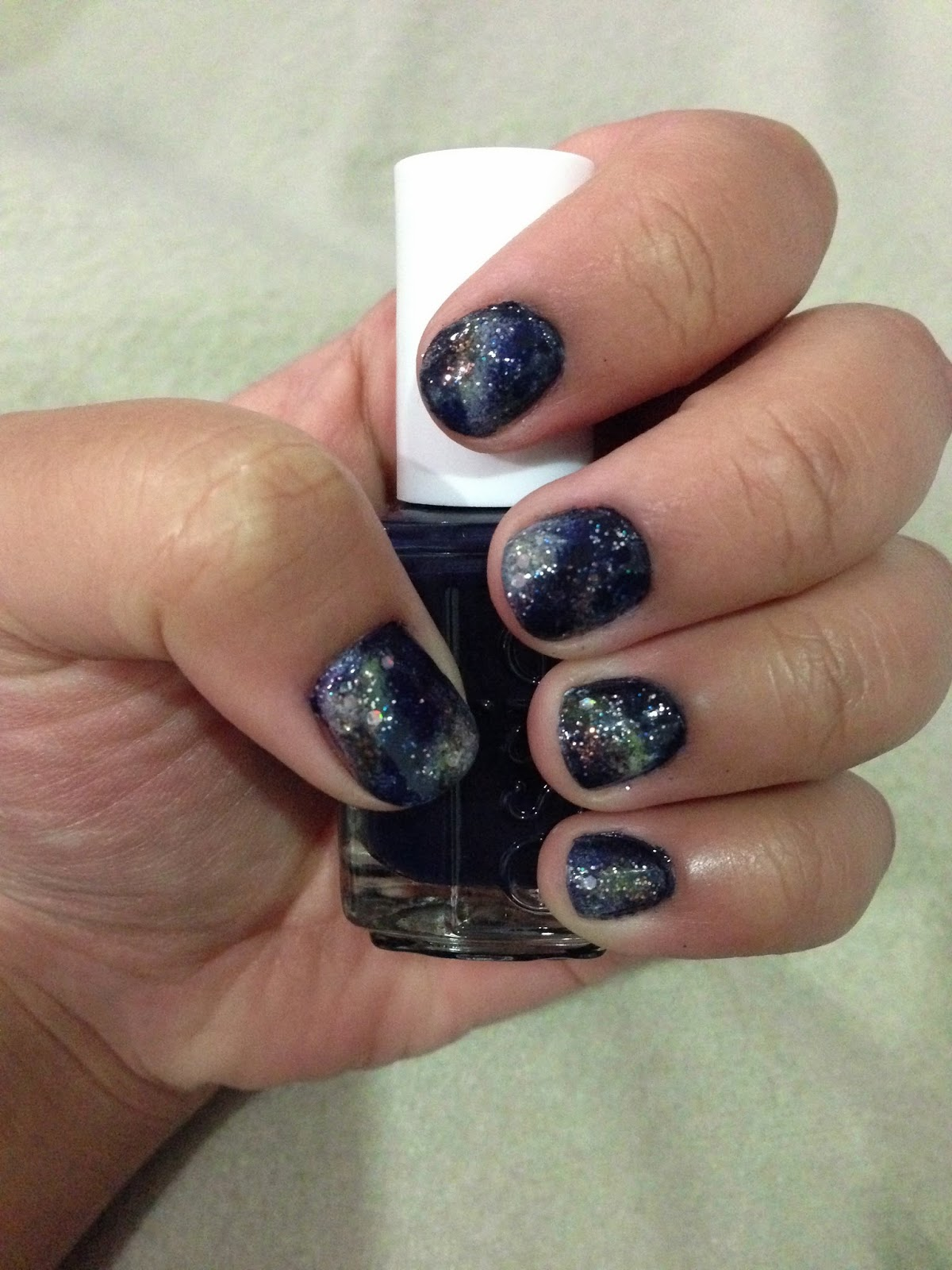 Essie After School Boy Blazer (846) with Galaxy Nail Art