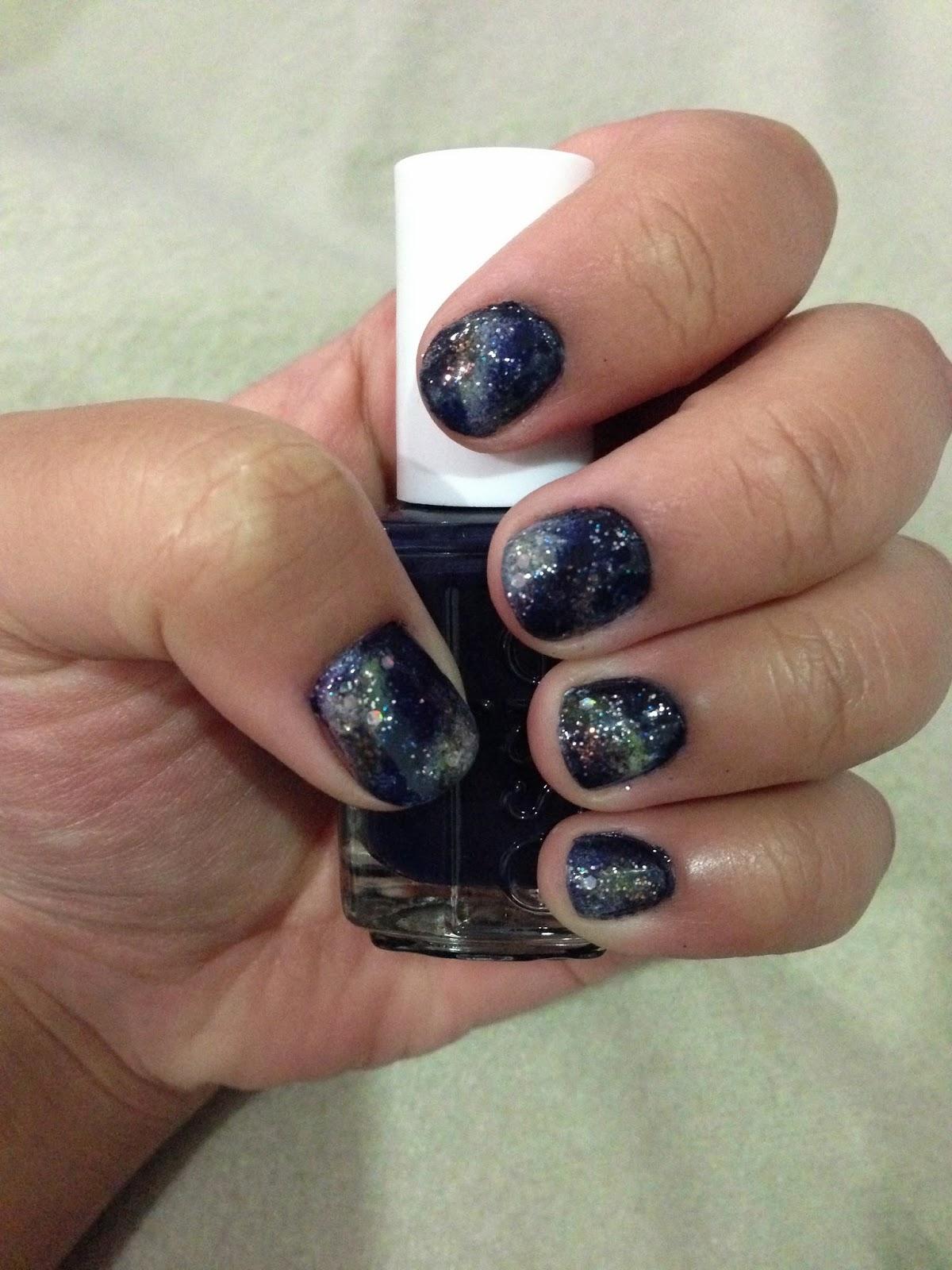 Essie After School Boy Blazer (846) with Galaxy Nail Art