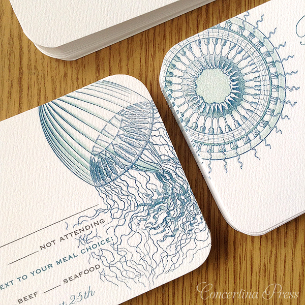 Aqua Jellyfish Invitations for a beach wedding made from 200 year old marine biology illustrations