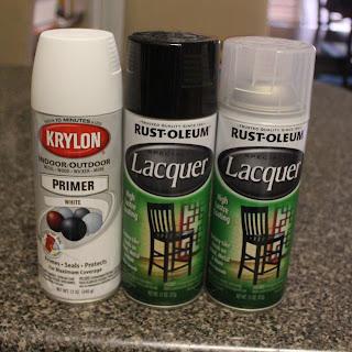 Krylon Primer White, Rust-Oleum Lacquer Black, Rust-Oleum Lacquer Clear.