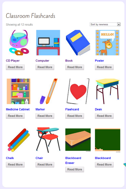 free classroom flashcard, school, kids