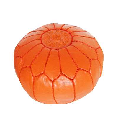 Nbaynadamas Orange Leather Moroccan Pouf