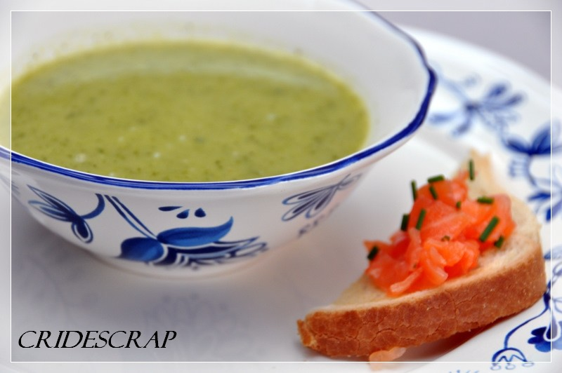 cridescrap and co soupe de courgettes et toast au saumon. Black Bedroom Furniture Sets. Home Design Ideas