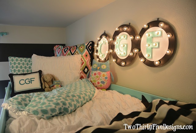 Illuminated letters as wall art, by Two Thirty Five Designs, featured on I Love That Junk