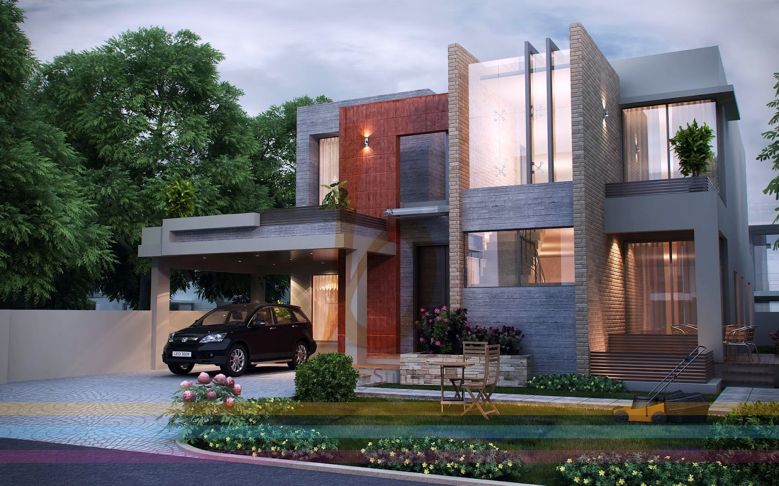 3d front dha lahore 1 kanal modern contemporary house design 3d front elevatin - Modern home pictures ...