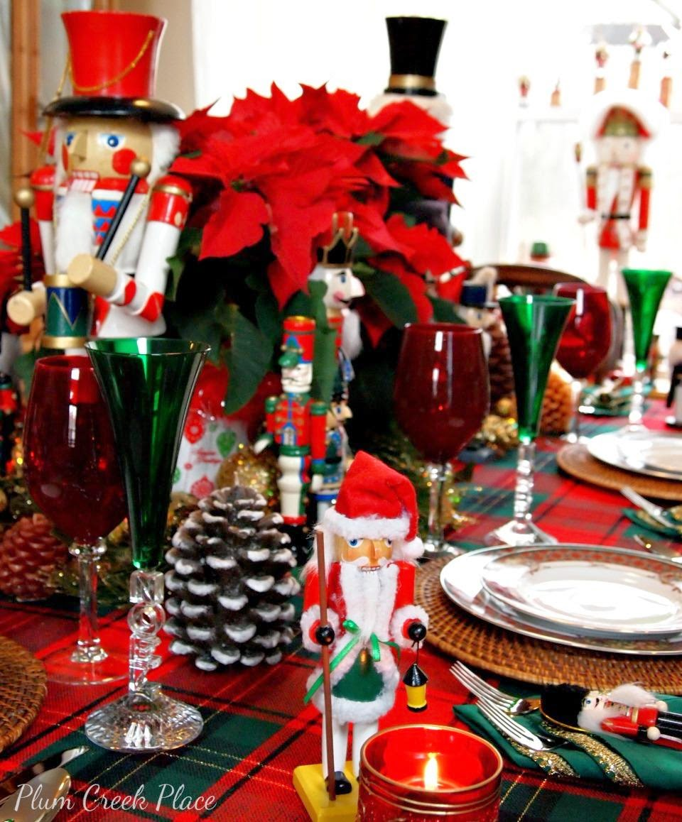 Nutcracker tablescape, Noritaki Royal Hunt, Noel wine flutes, poinsettias, pine cones