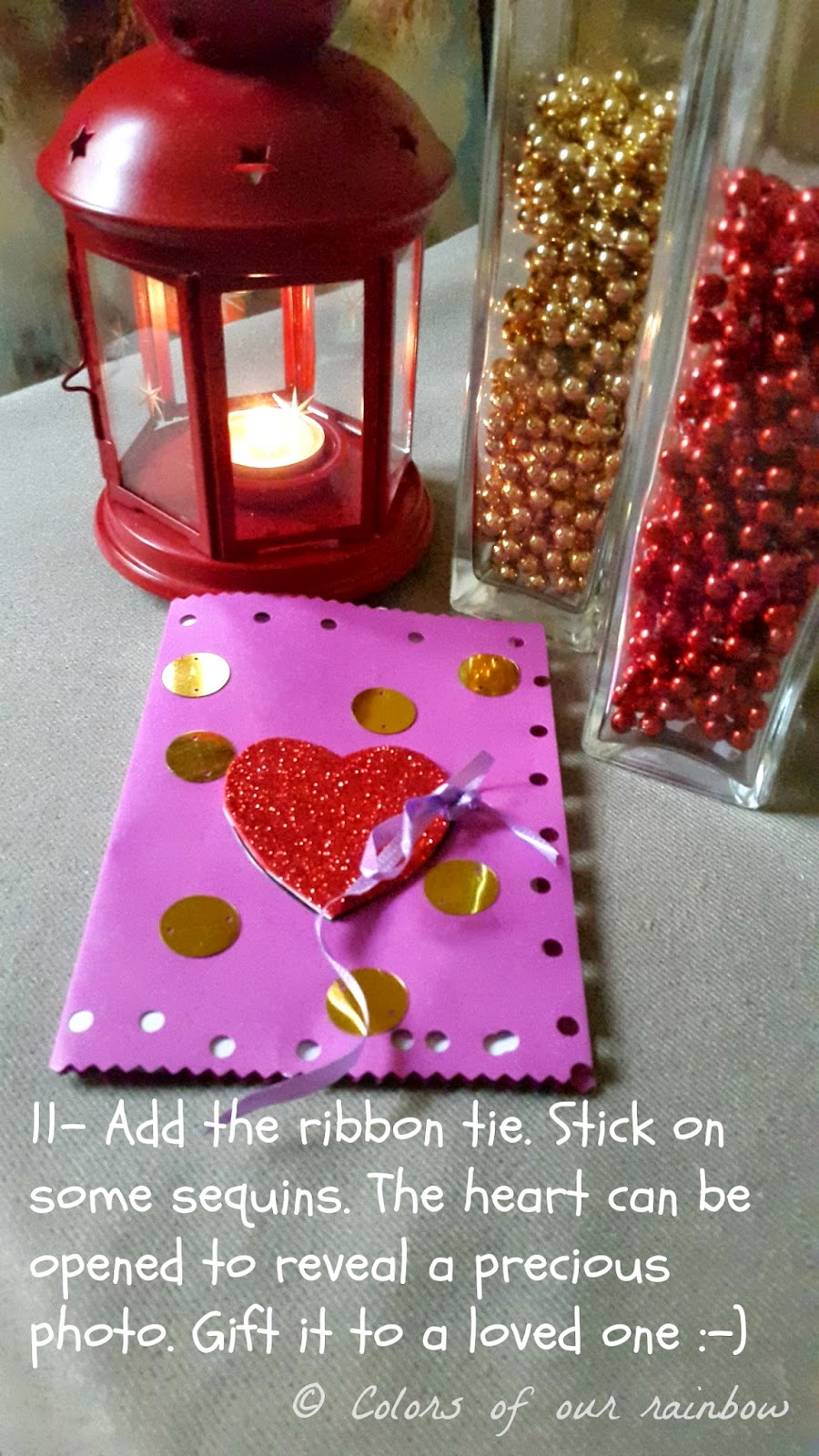 Five minute Diy Valentine card @colorsofourrainbow.blogspot.ae
