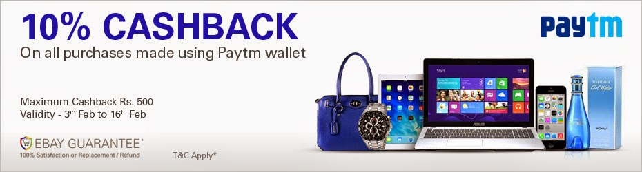 10% Cashback On All Purchases Made On Ebay.in Using Paytm Wallet
