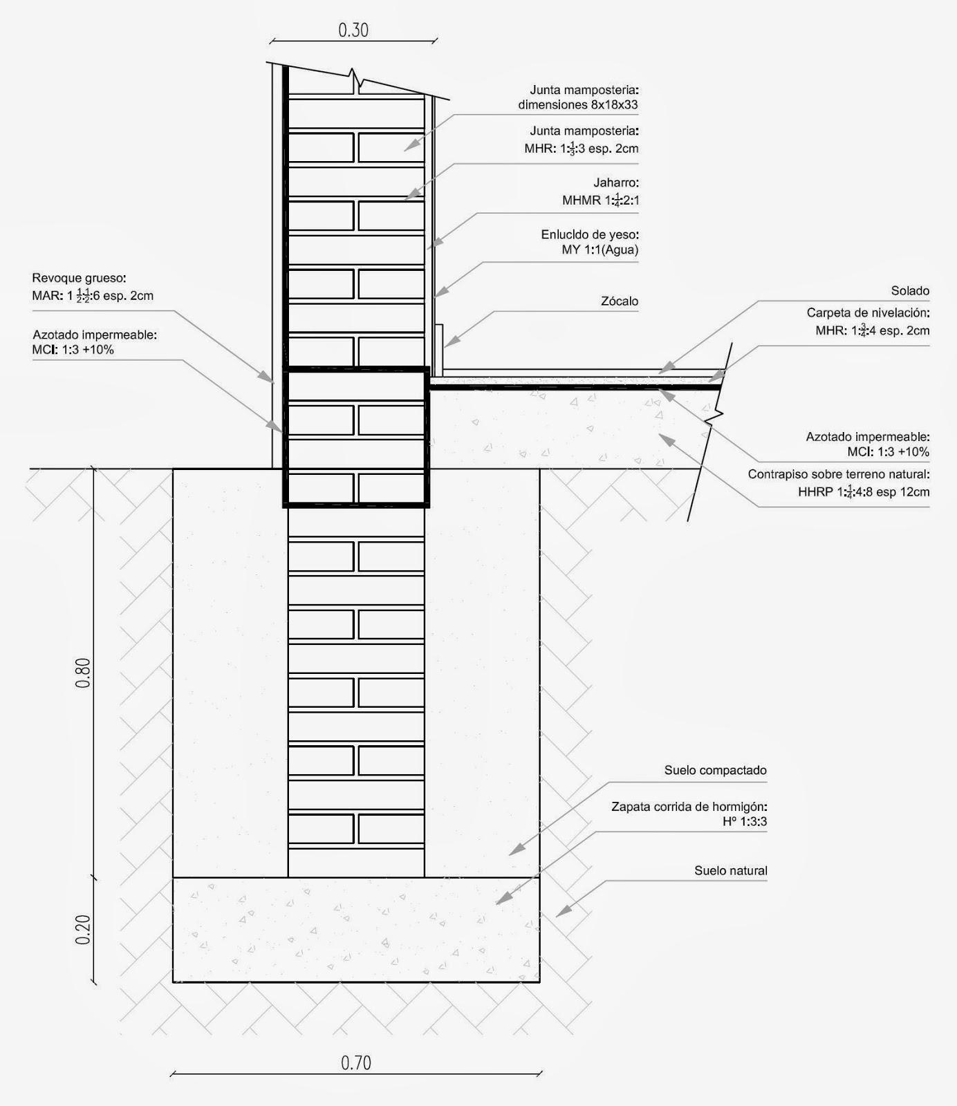 Detalles constructivos cad detalle cimentaciones muros de 30 - Medidas de ladrillos comunes ...