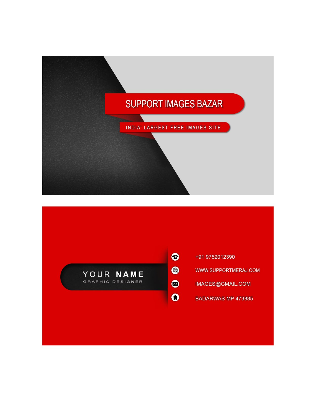 RED BUSINESS CARD MORDEN DESIGN PSD FILE FREE DOWNLOAD - Free ...