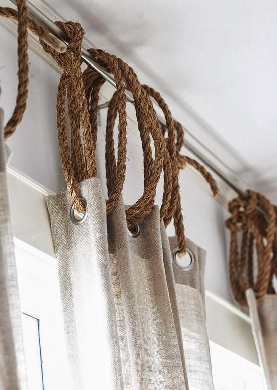 Hang drapes from rope